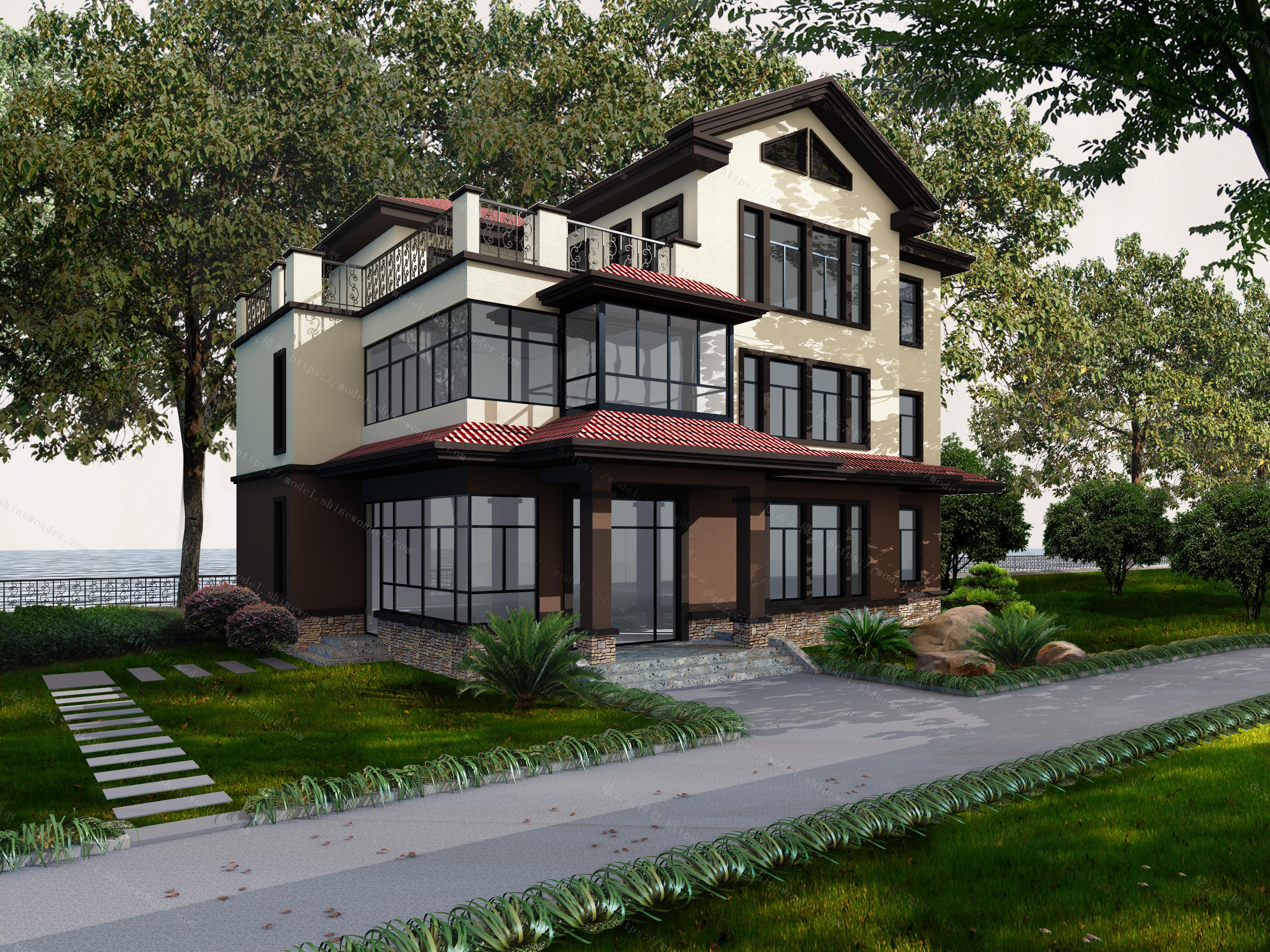 别墅外立面模型图片