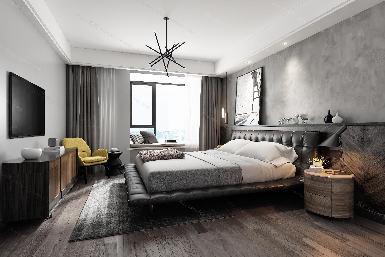 现代工业风卧室模型