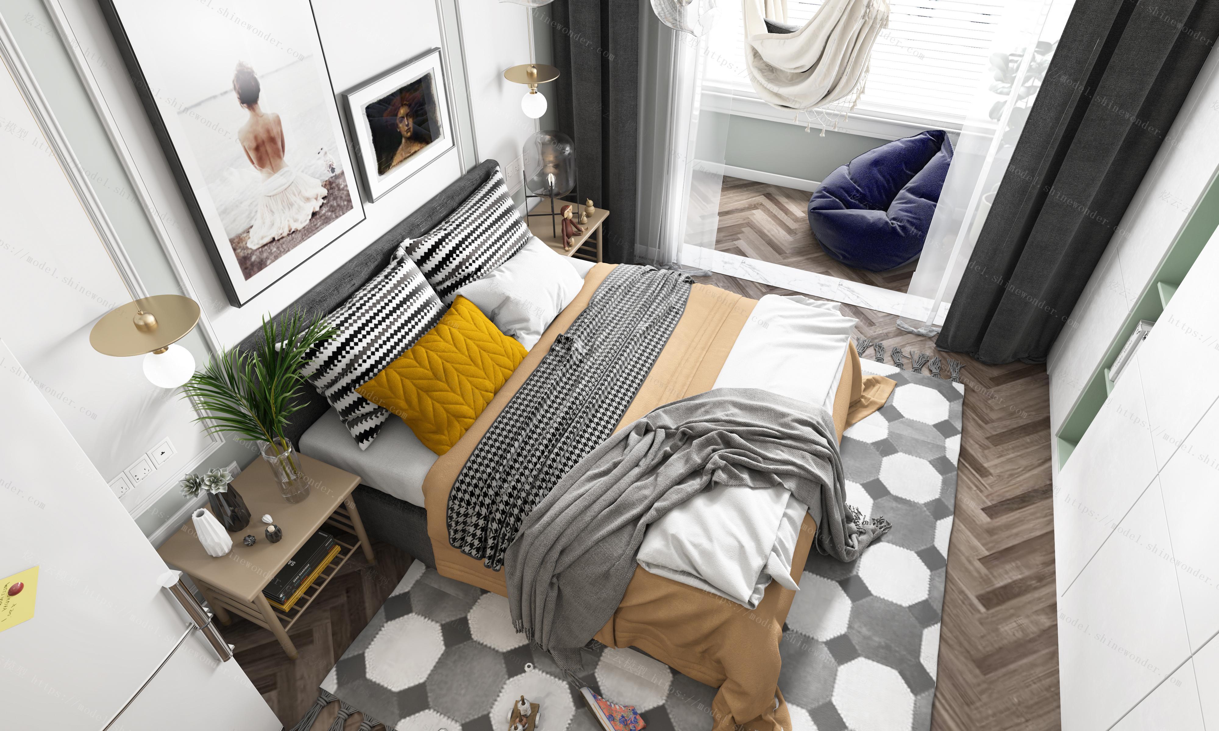 北欧单身公寓全景模型