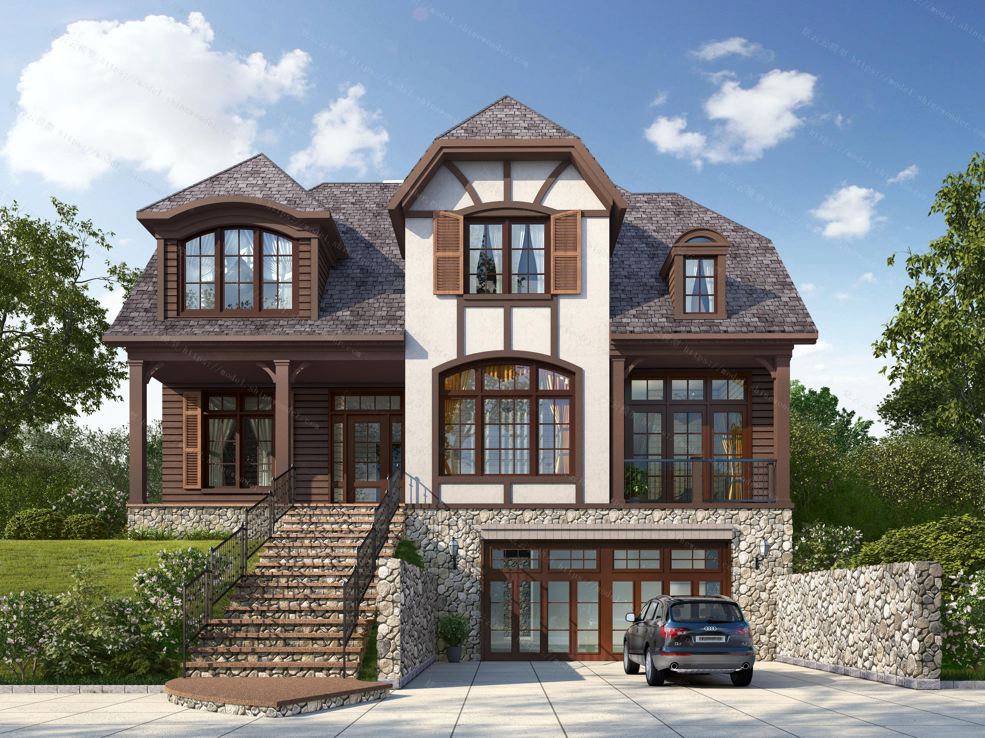 美式坡顶三层别墅建筑外观模型