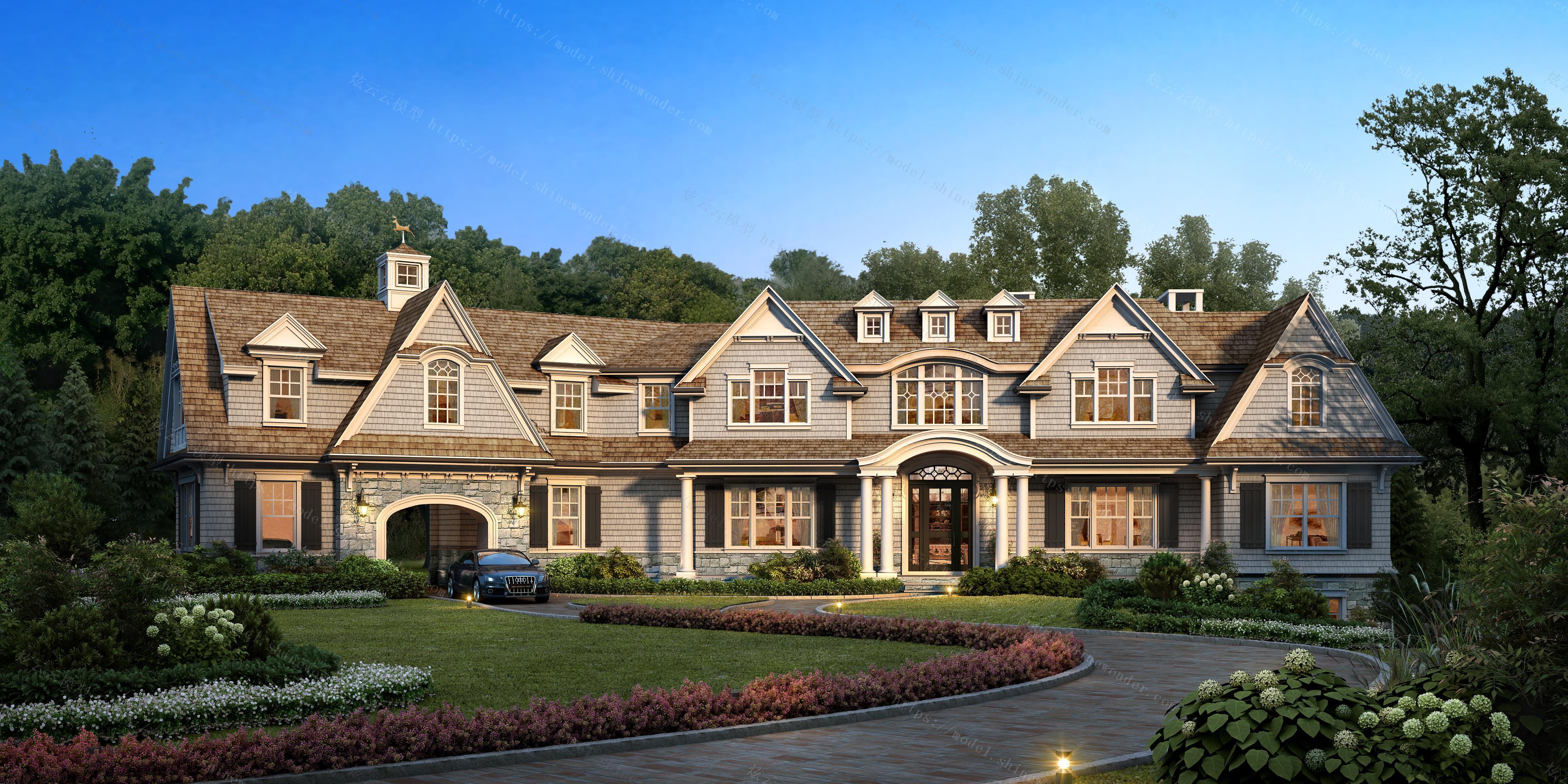 美式别墅所建筑别墅模型最实用外观图片