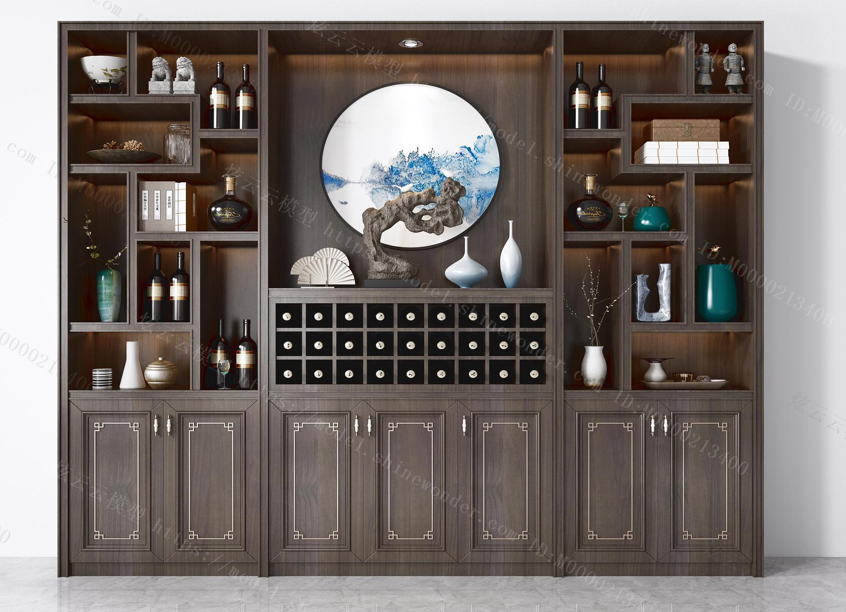 新中式酒柜模型