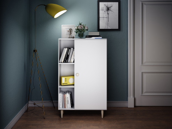 济型简约书柜北欧书房客厅储物柜家用小户型收模型