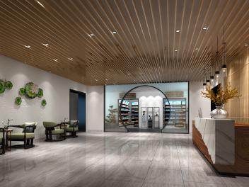 中式商店大厅模型