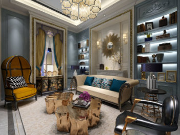 美式客厅模型