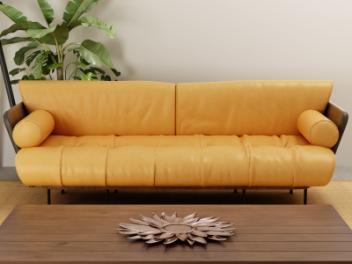 黄色皮质多人沙发模型