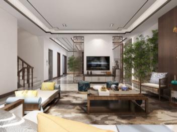 中式客餐厅茶室模型