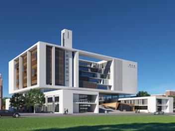 现代图书馆大楼外立面模型