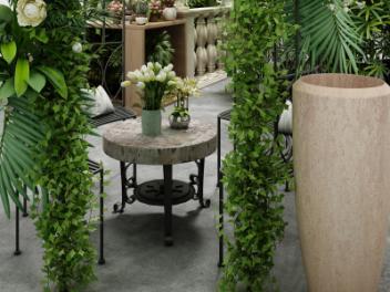 现代花园花草拱门模型