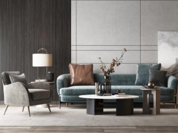 后现代沙发茶几组合模型