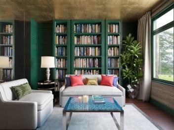 现代客厅书柜绿植模型