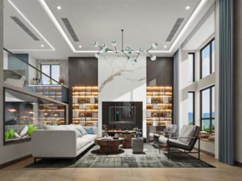 新中式客餐厅别墅全景模型