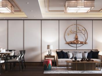 新中式客餐厅全景模型