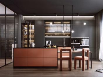 现代风格厨房餐厅 吧台模型