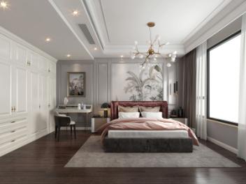 简欧轻奢卧室模型