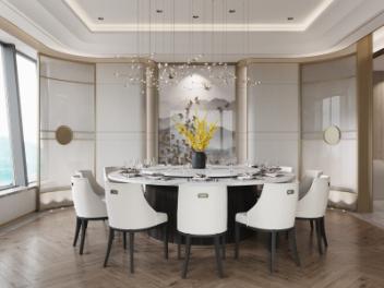 现代酒店餐厅会客厅包间模型