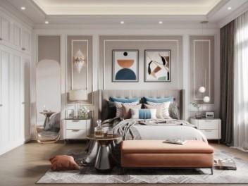 美式轻奢卧室模型