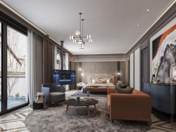 现代轻奢客厅卧室模型