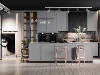 现代开放式多功能厨房模型