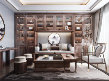 新中式风格书房茶室模型