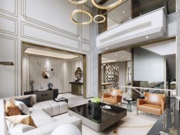 现代客餐厅别墅模型