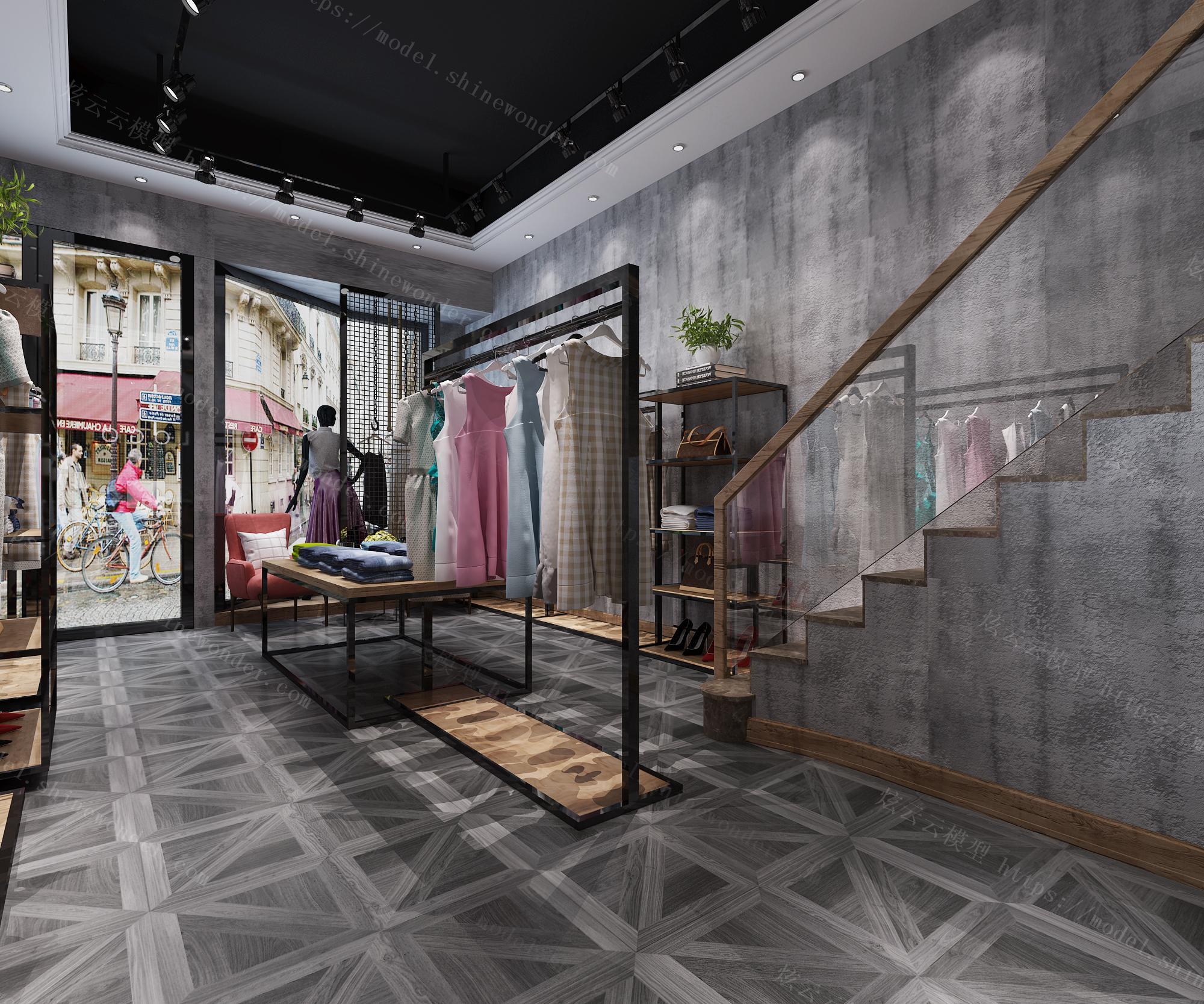工业风女装店模型