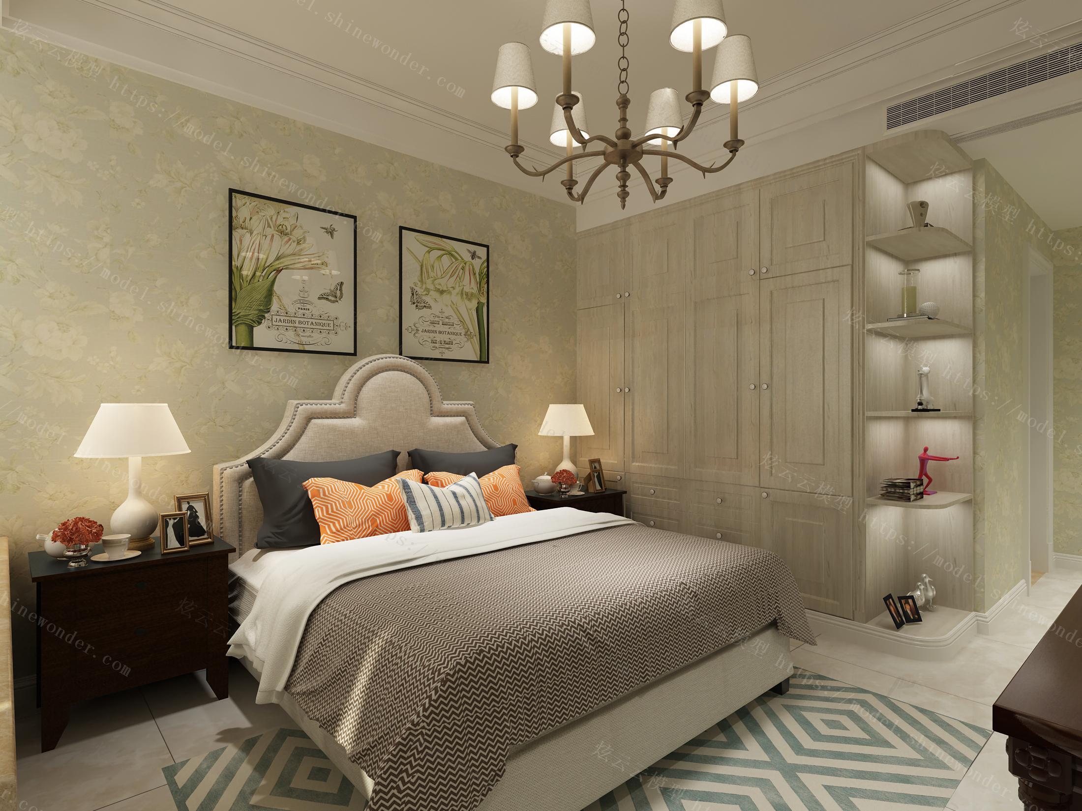 美式卧室全景模型