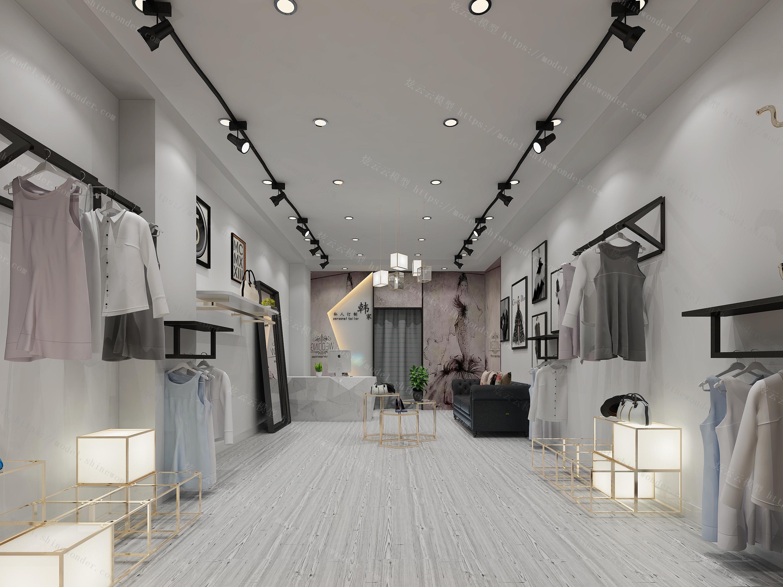 服装专卖店内外景模型