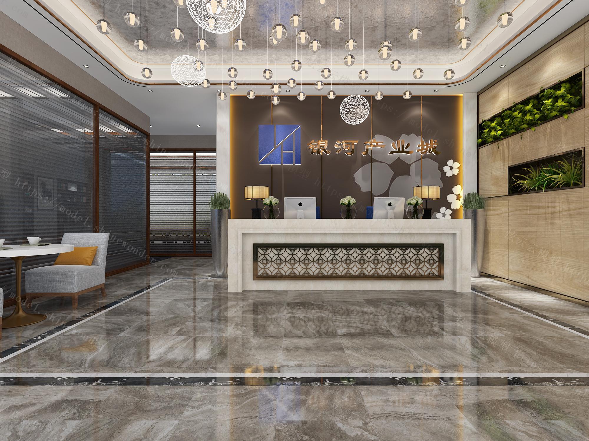 新中式办公室模型