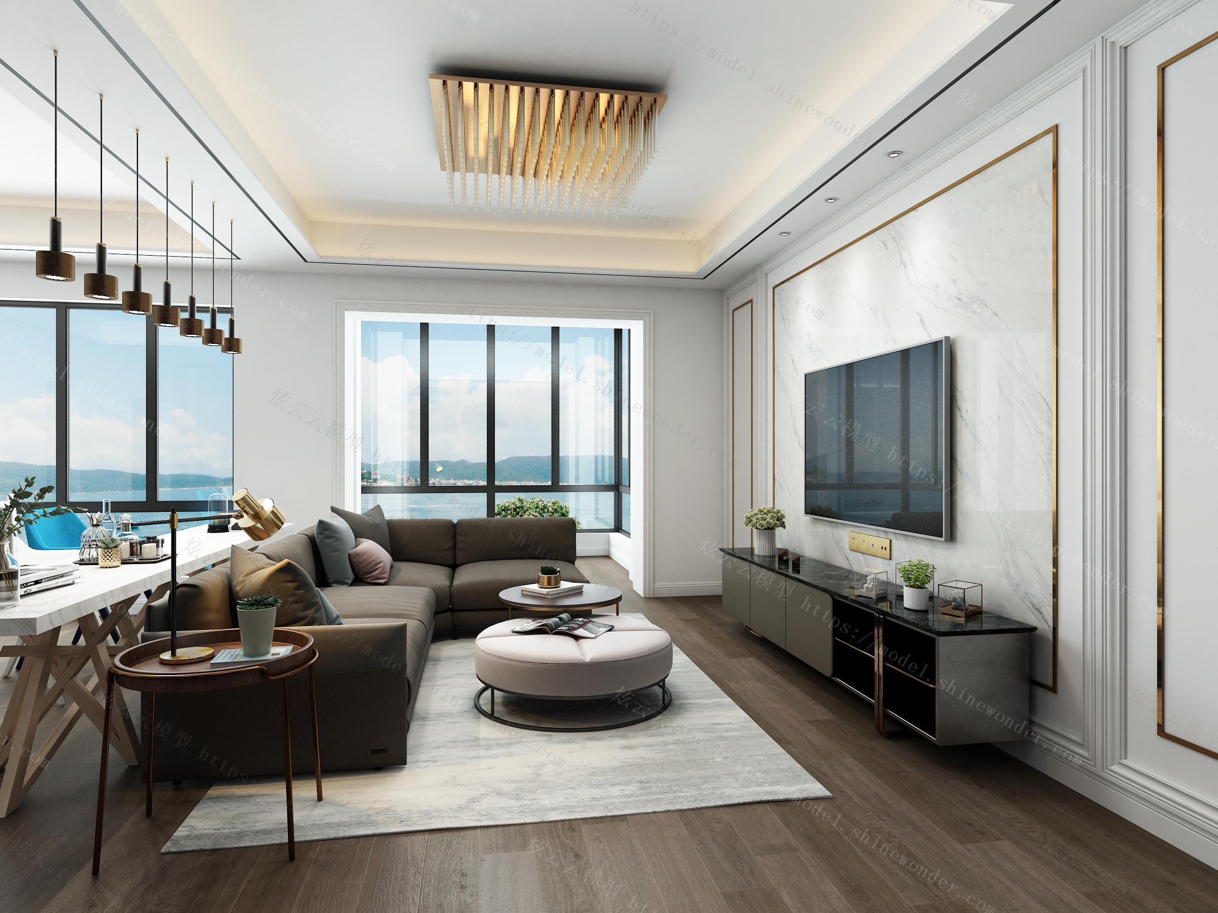现代简约客厅模型