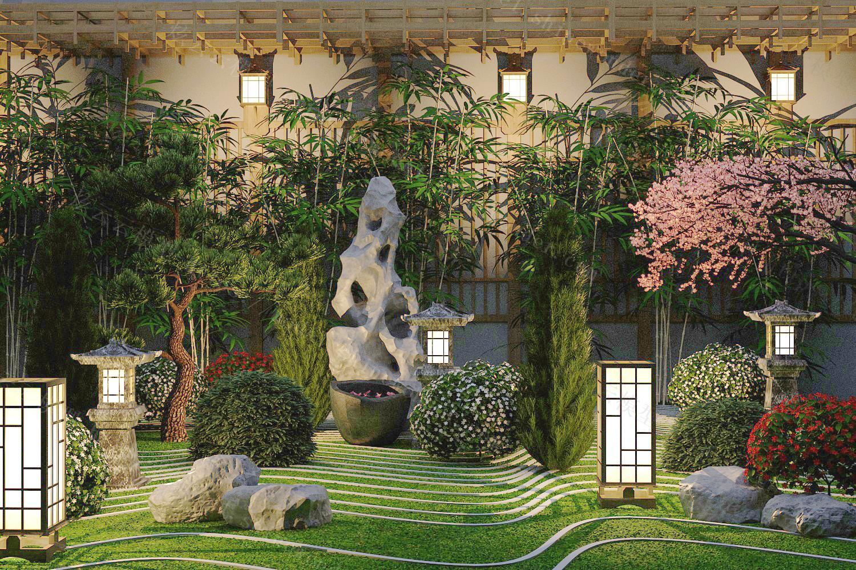 中式庭院假山模型