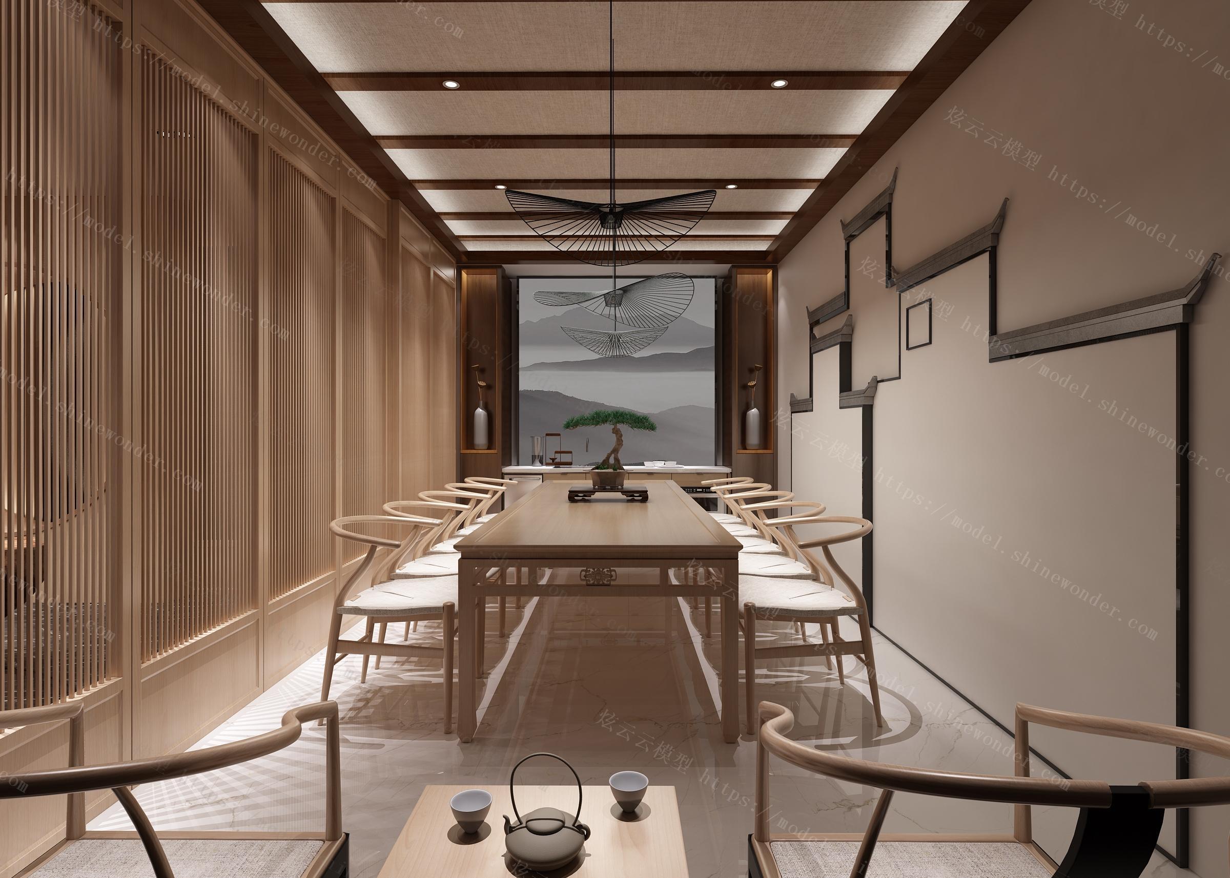 中式茶室模型