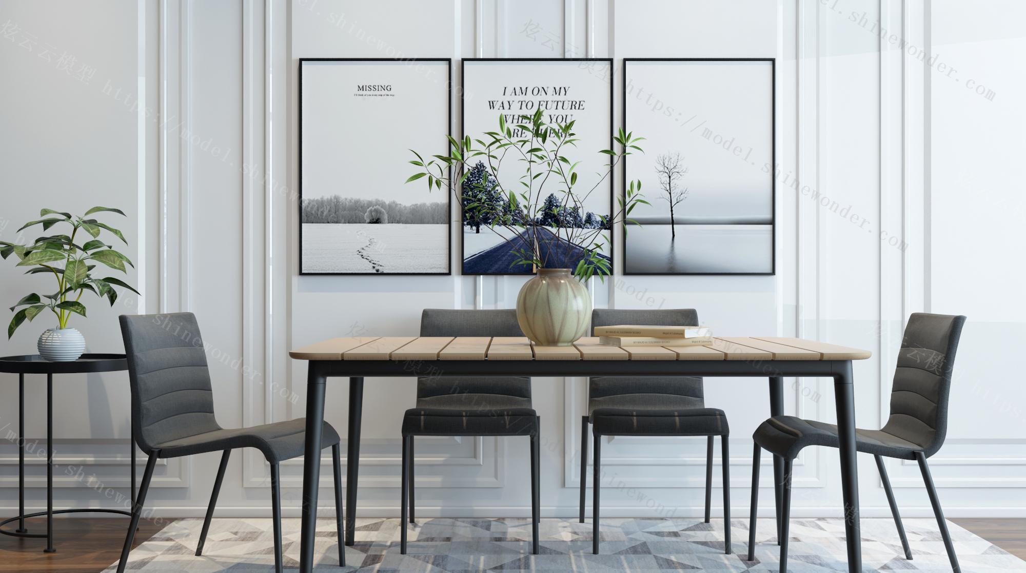 现代餐桌装饰画组合模型