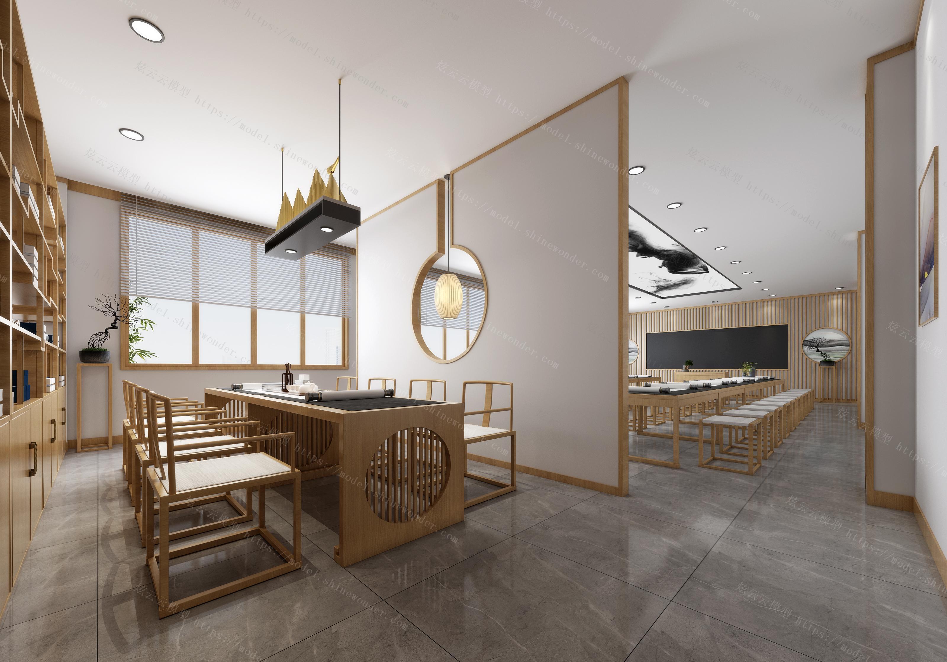 新中式教室模型