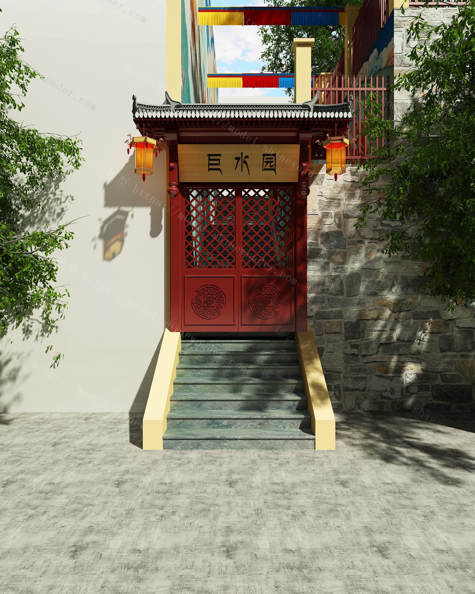 中式门头模型