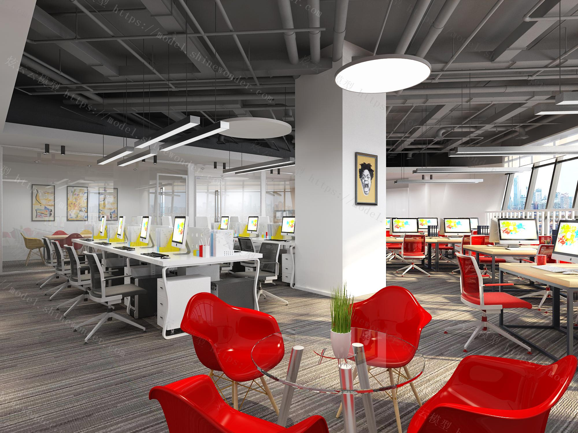 现代办公室模型