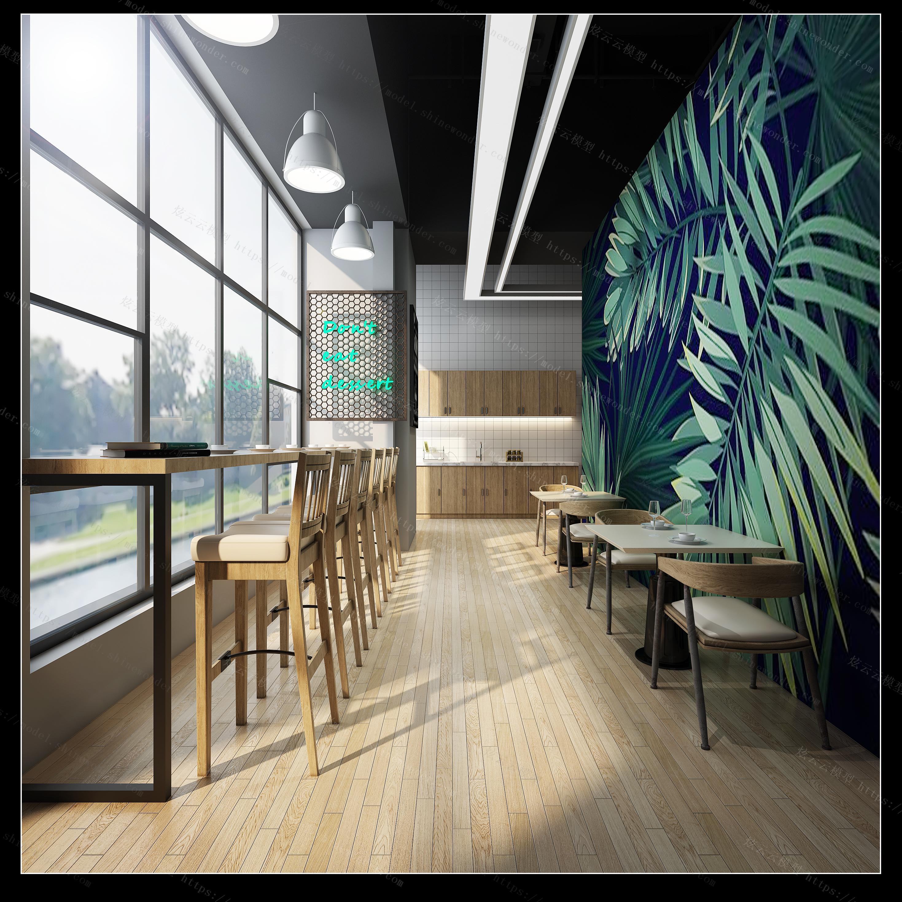 现代餐厅吧台模型