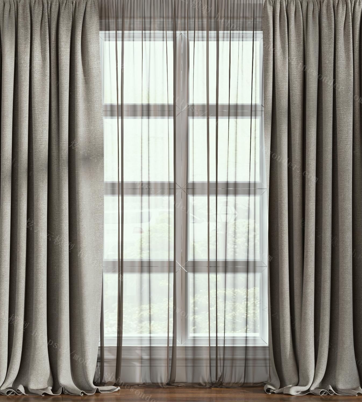 现代麻布窗帘模型