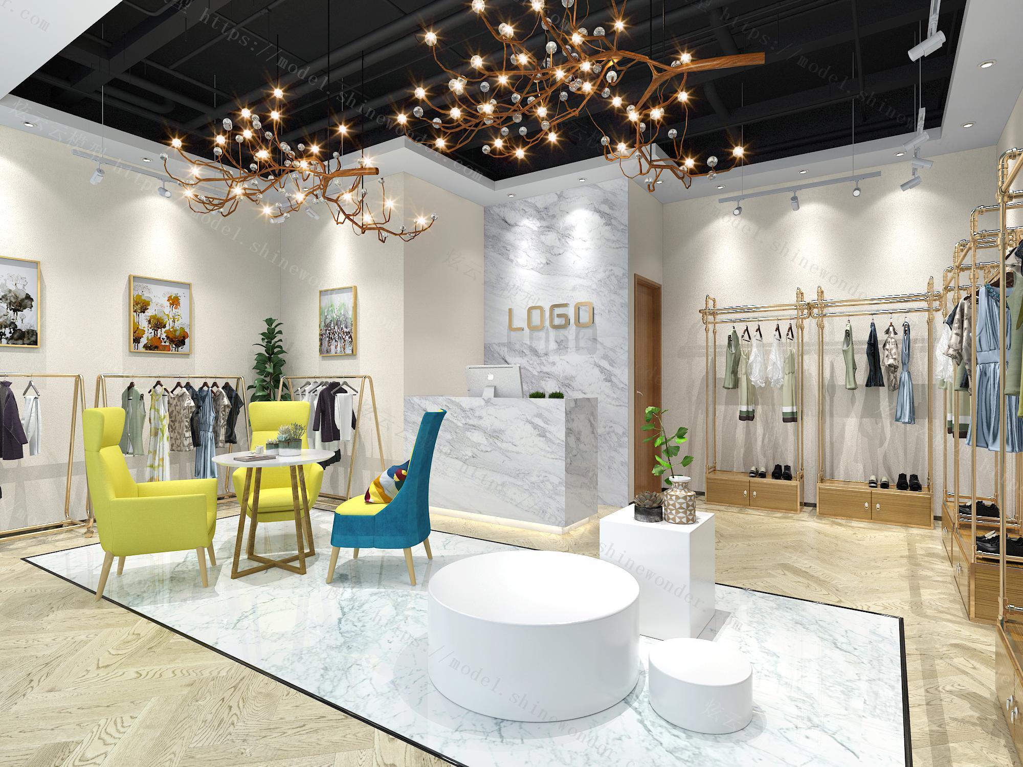 现代服装店模型