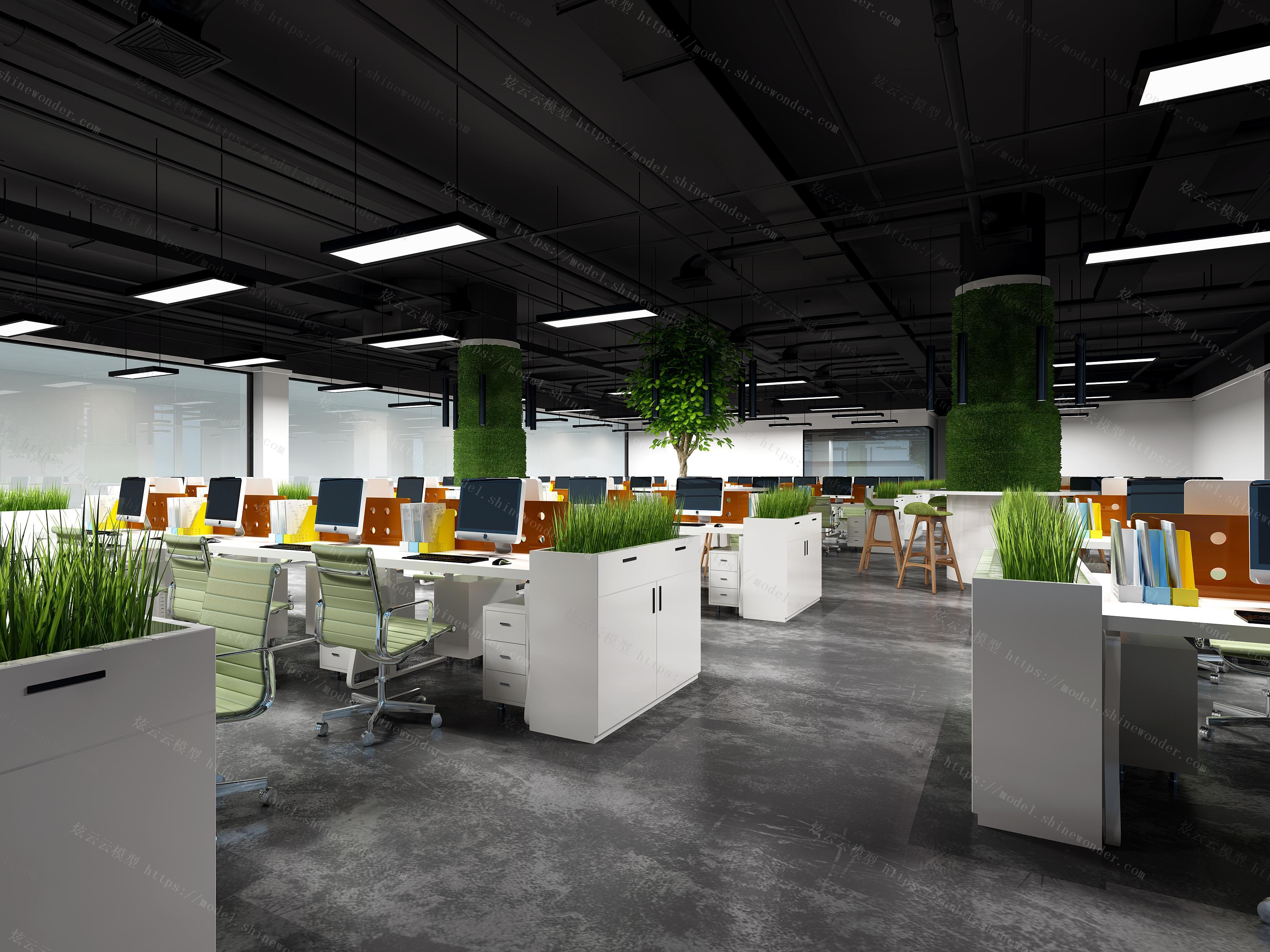 现代办公区模型
