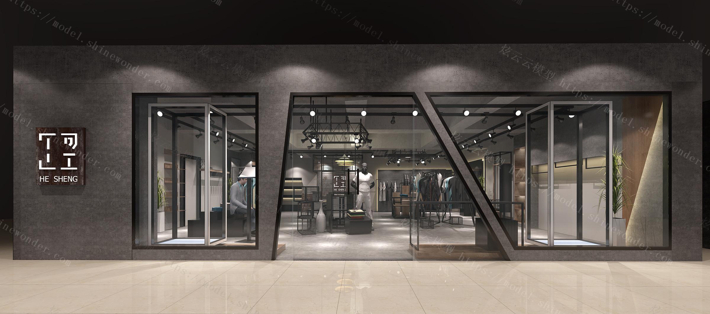 工业风服装店模型