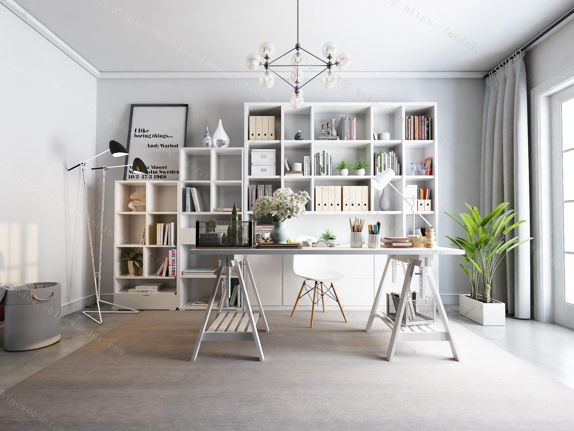北欧书房模型