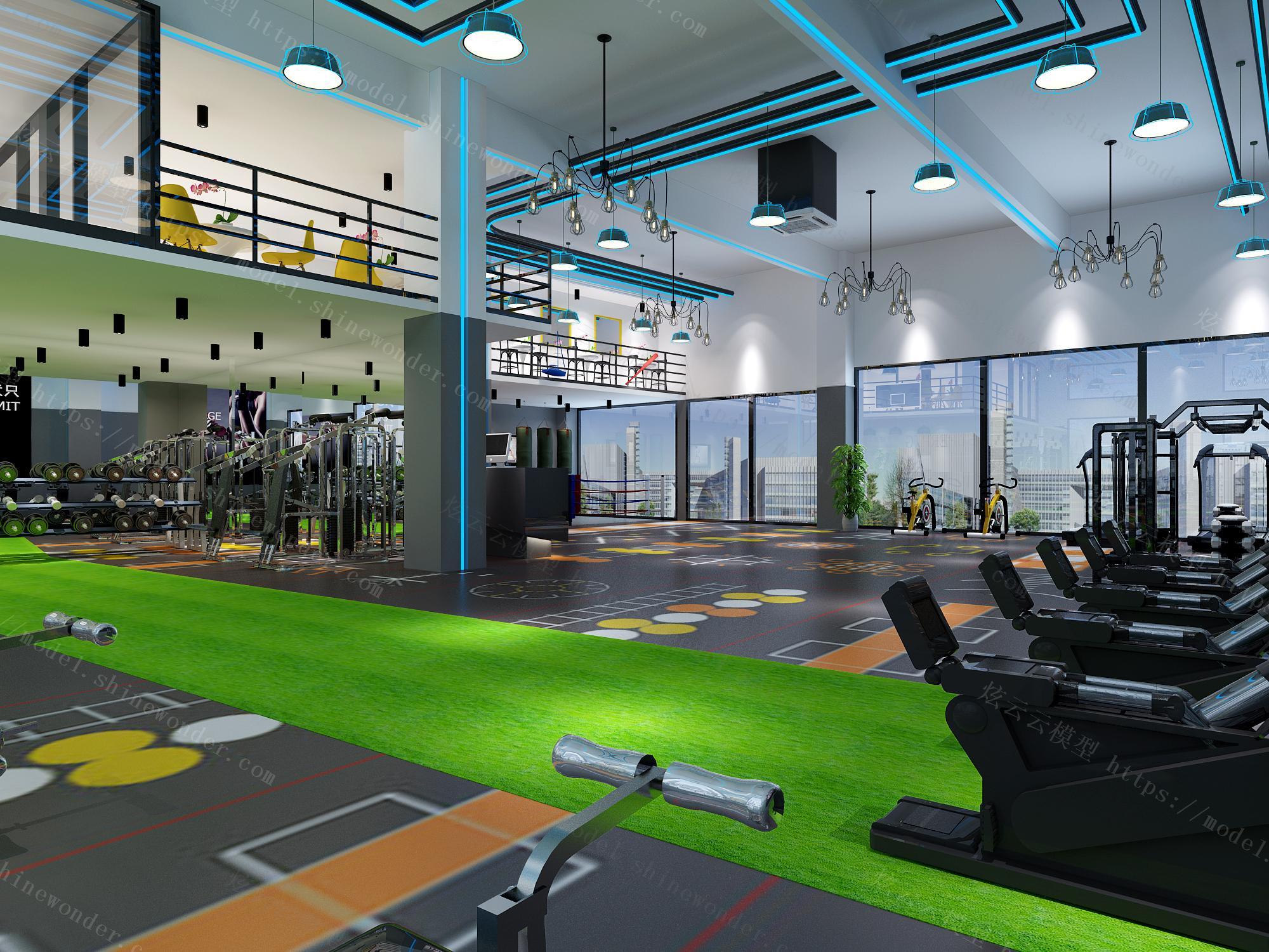 现代健身房模型