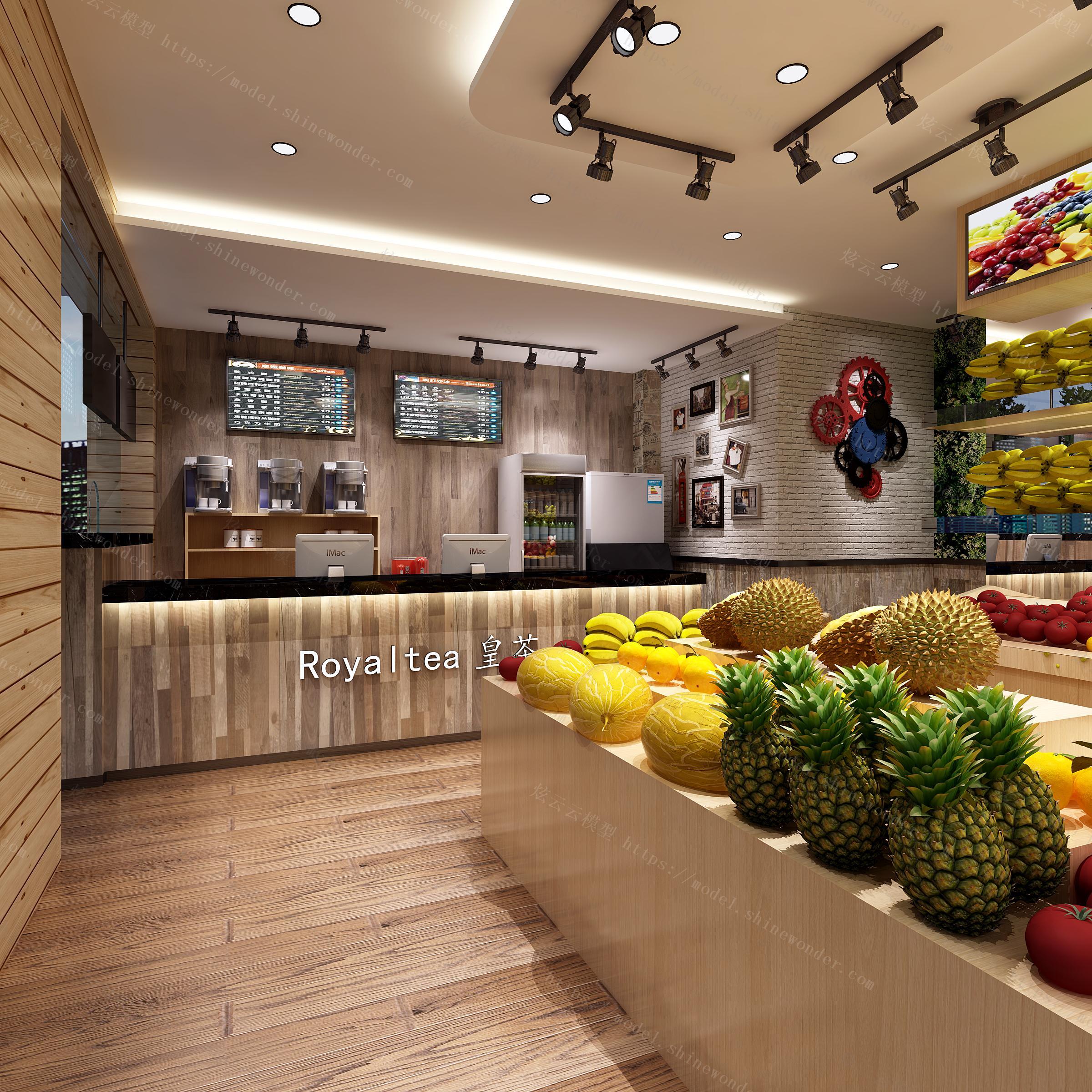 水果专卖店带门头模型