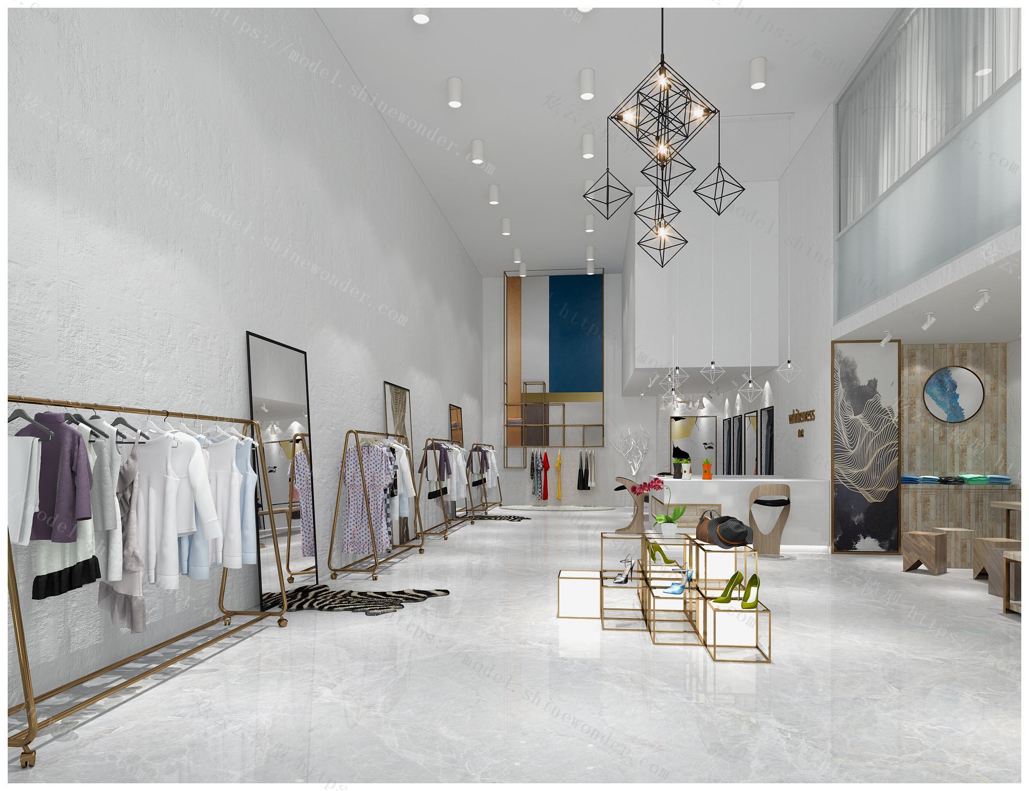 现代女装店全景模型