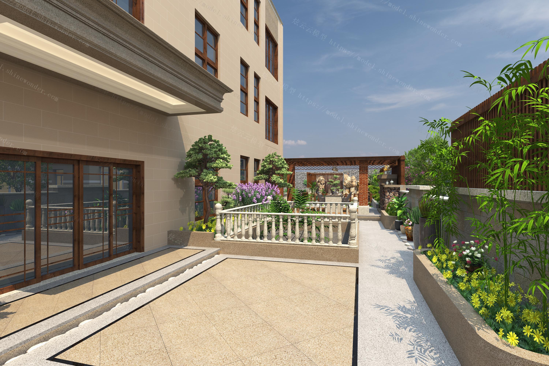 别墅花园全景模型