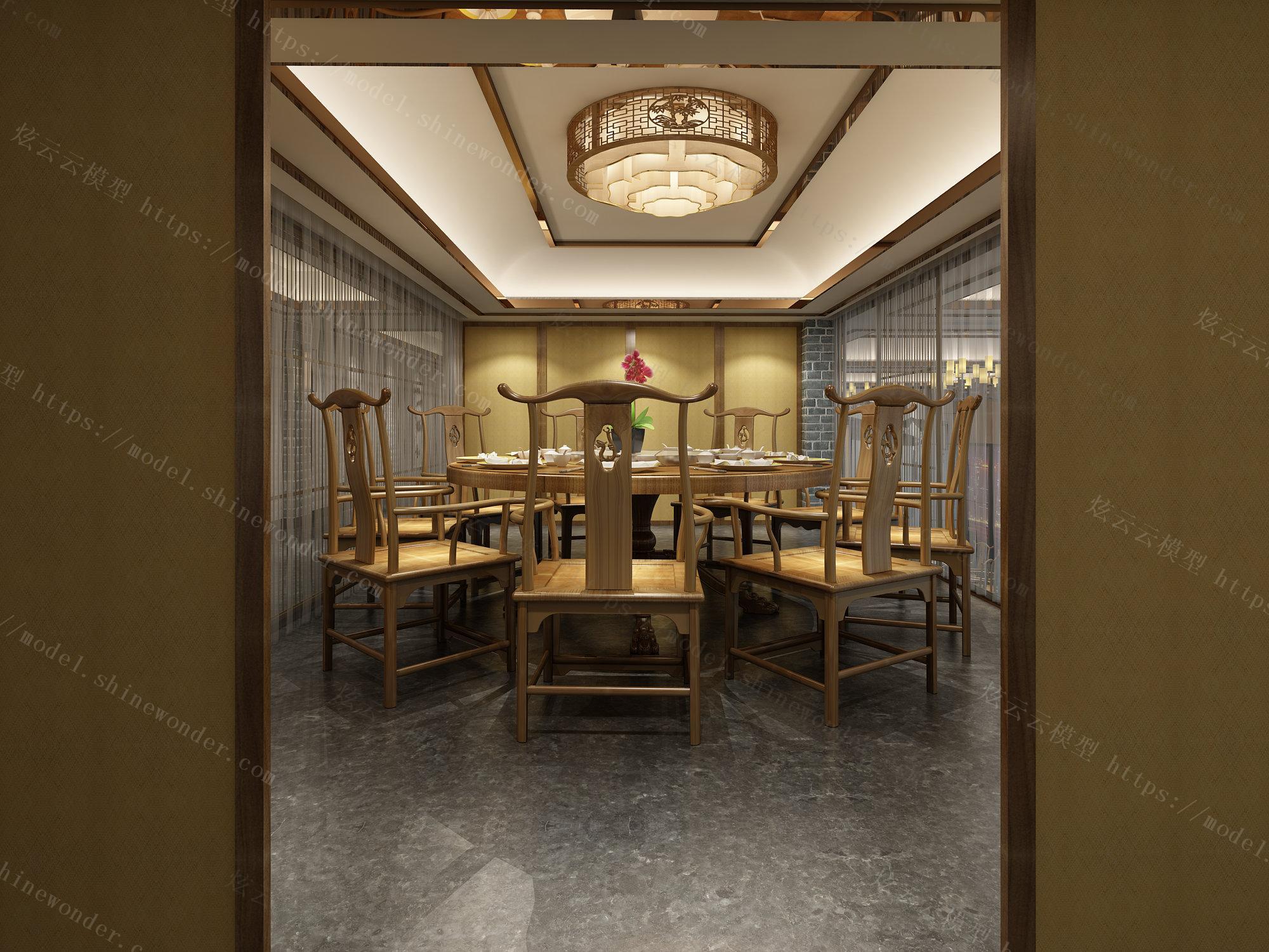 新中式餐厅模型