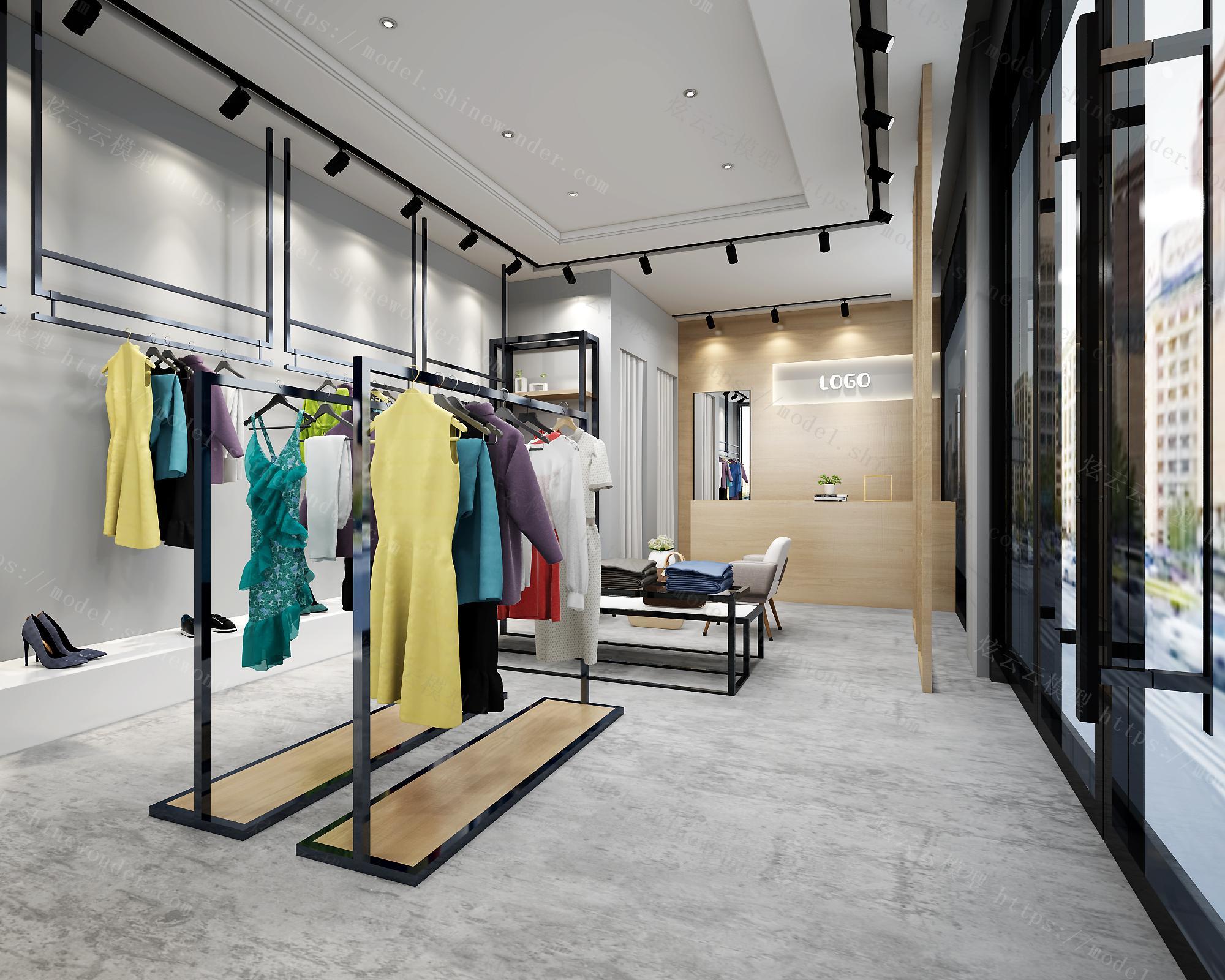 现代服装店全景模型