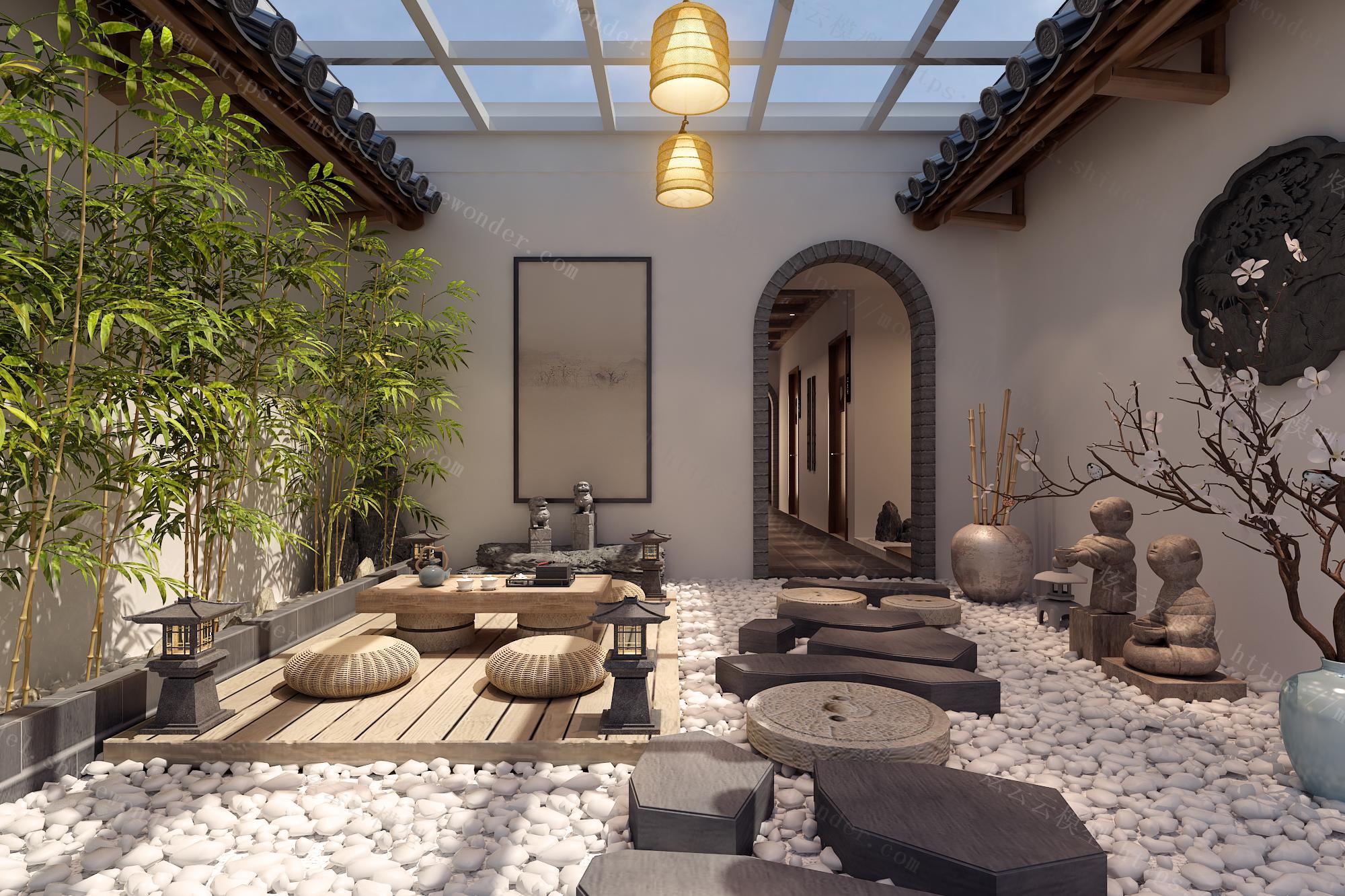 中式酒店走廊庭院模型