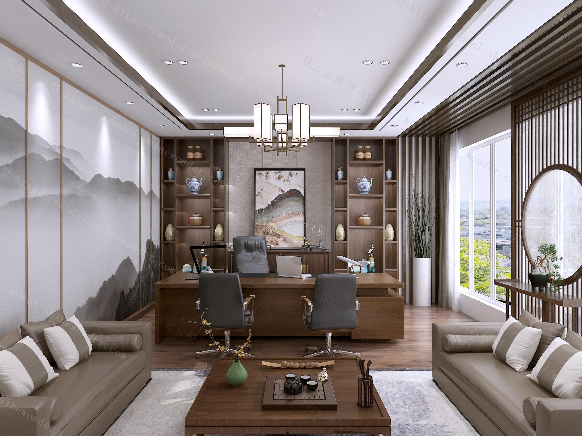 新中式经理室模型